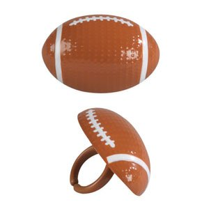 Football Cupcake Rings - 12 ct