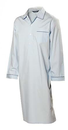 Lloyd Attree & Smith - chemise de nuit homme, doux et confortable - 100% coton - bleu clair (M)