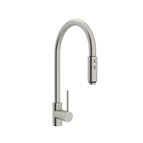 Rohl LS57L-STN-2 Modern Architectural Single Hole Side Mount Single Metal Lever Dual Function Spray Kitchen Faucet, Satin Nickel