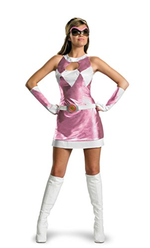 Disguise Womens Pink Power Ranger Sassy Dress Halloween Themed Fancy Costume