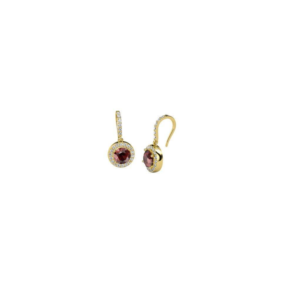 Gem Drop Earrings, Round Red Garnet 14K Yellow Gold Earrings