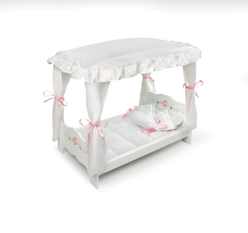 Badger Basket Rose Doll Canopy Bed, White front-16026
