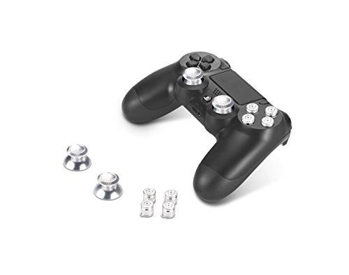 Supremery Playstation 4 DualShock 4 pulsanti in alluminio Cappelli Thumbsticks ricambio Accessori per PS4 (Silver Bullet)