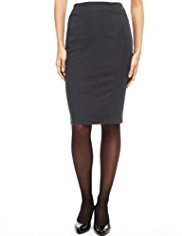 M&S Collection Pin Dot Print Piped Knee Length Skirt