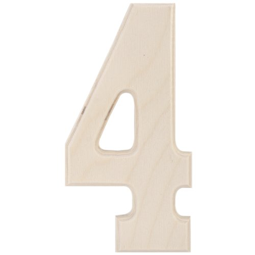 MPI Baltic Birch University Font Letters and Numbers, 5-Inch, Number 4