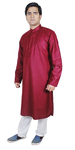 Habillement-Mode-Kurta-Pajama-Shirt-Vtements-ethniques-hommes-main-Maroon