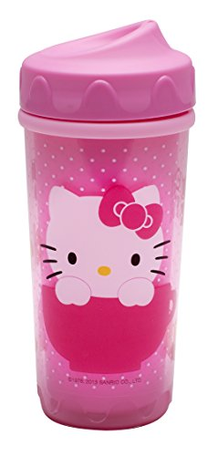 Zak! Designs Toddlerific Perfect Flo Toddler Cup with Hello Kitty, Double Wall Insulated Construction and Adjustable Flow Technology, Break-resistant and BPA-free Plastic, 8.7oz.