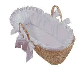 Eyelet Moses Basket - Color White