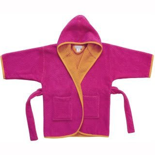 American Terry Two-Tone Terry Cover-Up Hooded Robe, Pink/Orange, S 4-6 Years