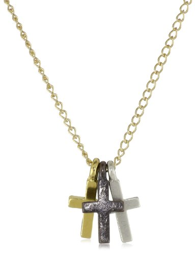 Dogeared Jewels and Gifts Gold Little Crosses 3-Wishes Necklace