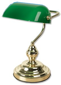 Hansa Bankers Lamp Traditional In-line Switch and Adjustable Green Shade 60W Brass-effect Ref 5010306
