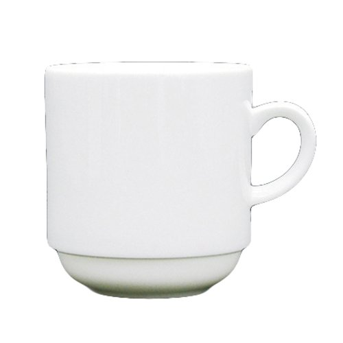 Fortessa Fortaluxe Superwhite Vitrified China Cassia 12-Ounce Large Stackable Mug, Set Of 6