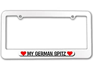My German Spitz Love with Hearts - Powder Coated METAL License Plate