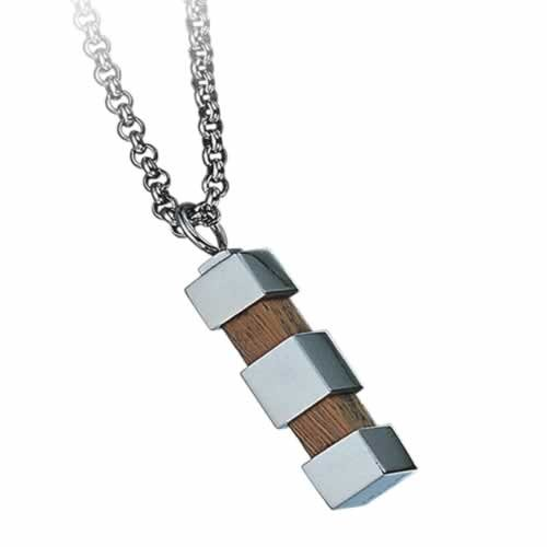 Gorgeous Stainless Steel with Wood Pendant (Stainless Steel Chain Included)