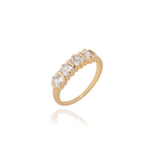 C-Princessリング 指輪 ring 18Kゴールドメッキ コーティン ラインストーン レディース 女性 アクセサリー ジュエリー ウェディング エンゲージリング 贈り物 (14)