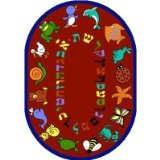"Joy Carpets Kid Essentials Early Childhood Oval Hebrew Alphabet ABC Animals Rug, Red, 5'4"" x 7'8"""