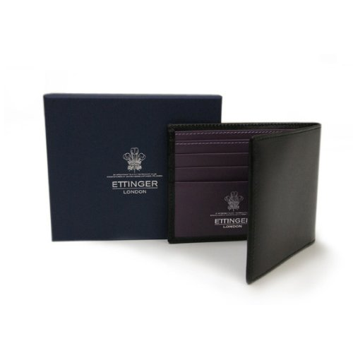 (エッティンガー)ETTINGER ROYAL COLLECTION(ロイヤルコレクション) 二つ折り財布 OH030CJR BILLFOLD ブラック×パープル メンズ[並行輸入品]
