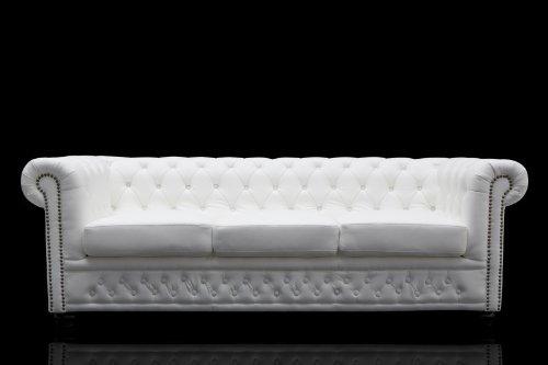 Casa Padrino Chesterfield 3er Sofa Weiss - Wohnzimmer Couch Möbel