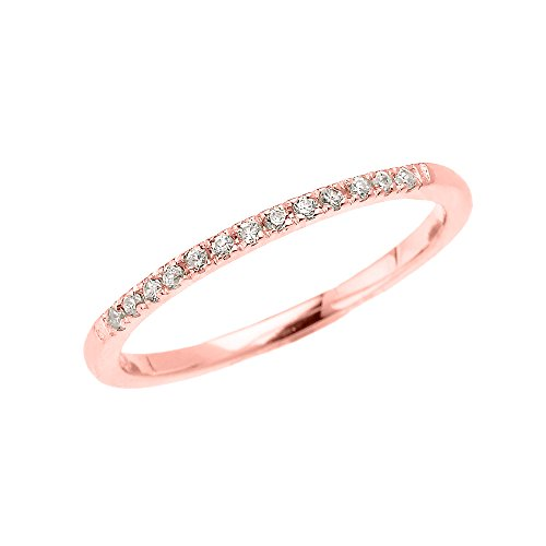 10k Rose Gold Dainty Diamond Stackable Ring