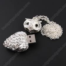 High Quality 8 GB Owl Crystal Jewelry USB Flash Memory Drive Necklace