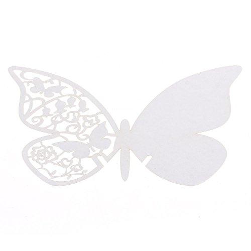 FACILLA® 50x Carte Nom Marque Place Verre Laser Coupe Papillon BLANC Mariage Soirée Fête