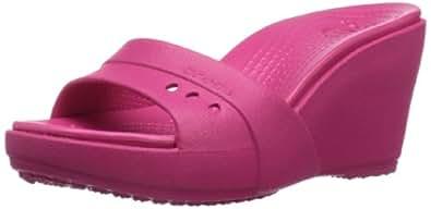 crocs Women's 14102 Kadee Wedge Sandal,Raspberry/Raspberry,8 M US
