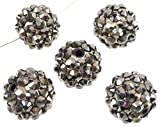 Angel Malone 10 x 12mm Gunmetal Shamballa Rhinestone Resin Pave Disco Beads