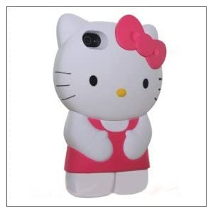 MicroDeal 3d Silicone Gel Hello Kitty Iphone Case for Iphone 4/4s (Pink/White)