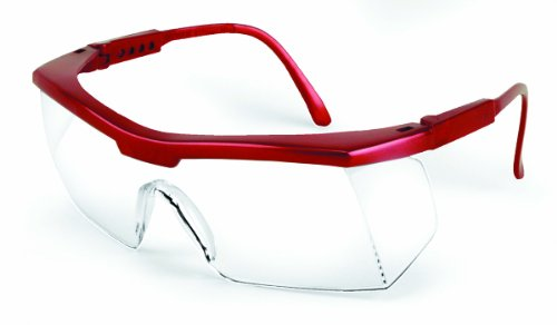 Sellstrom 400 Sebring Protective Eyewear, Clear Lens, Burgundy Frame with Adjustable Temples (Pack of 12)