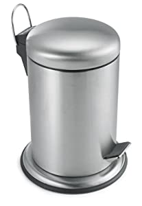 Polder Commercial Style Step Can, Stainless Steel, 1.3-Gallon