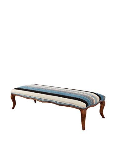Evergreen Striped Bench, Blue/Cream/White/Black