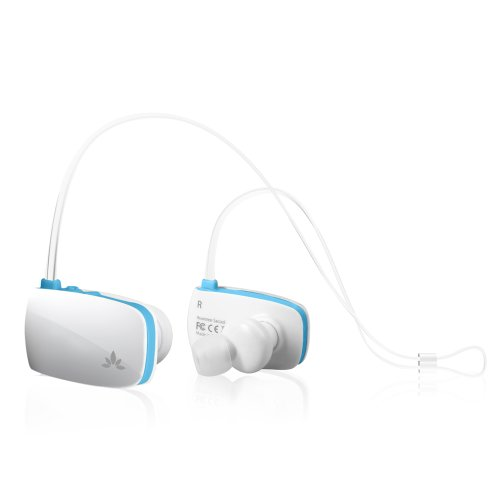 Avantree Sacool Bluetooth Stereo Headset With Mic And Pouch, White/Blue