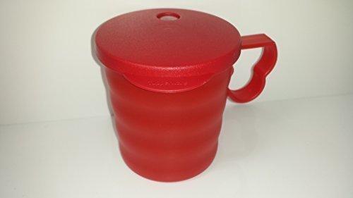Tupperware Tasse mit Deckel rot 350ml Strohhalmbecher Junge Welle Becher Trinkbecher
