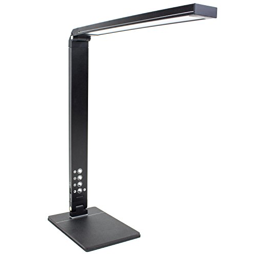Newhouse Lighting 10W Modern LED Adjustable Desk Lamp w/ Color Temperature Changing, Dimming & USB Charging, Black