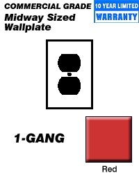 Leviton PJ8-R 1-Gang Duplex Receptacle Wallplate, Midway Size, Red