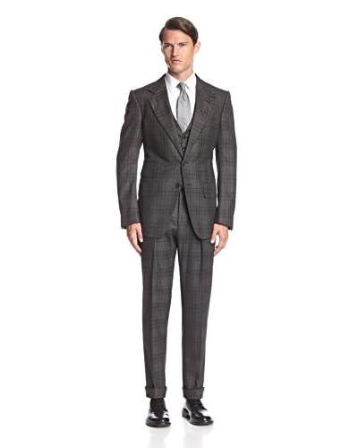 TOM FORD Men's Plaid Peak Lapel Ticket Pocket Suit