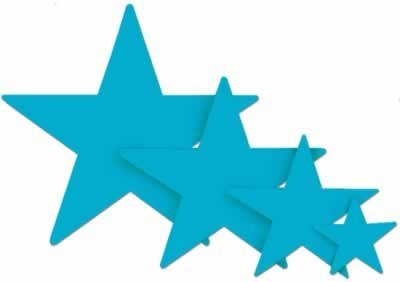 Foil Star Cutout (turquoise) Party Accessory  (1 count)