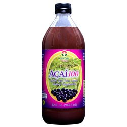 Acai100 100% Acai Berry Juice Pulp Supplement by Genesis Today ~ 32oz Bottle ~ Superfood Antioxidant