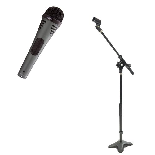 Pyle Mic And Stand Package - Pdmik2 Professional Moving Coil Dynamic Handheld Microphone - Pmks7 Compact Base Microphone Stand