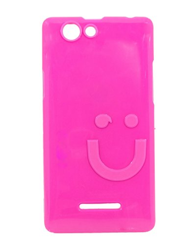 iCandy™ Imported Quality Soft TPU Smiley Back Cover For Xolo A500S - Raspberry  available at amazon for Rs.109