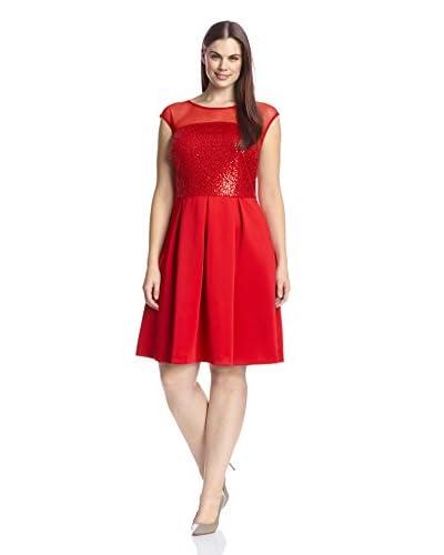 Sandra Darren Plus Women's Sequin Detail Fit & Flare Dress
