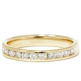 .50CT Diamond 14K Yellow Gold Channel Set Womens Anniversary Wedding Ring Band Stackable Guard