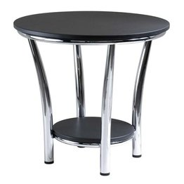 Cheap Maya Round End Table, Black Top, Metal Legs – winsome wood 93219 (B00563M7C0)