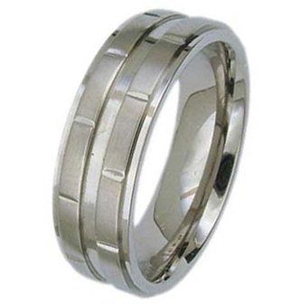 7MM Polished Titanium Ring with Two 3D lines off the Center with Cut in Rectangle Shapes For Men