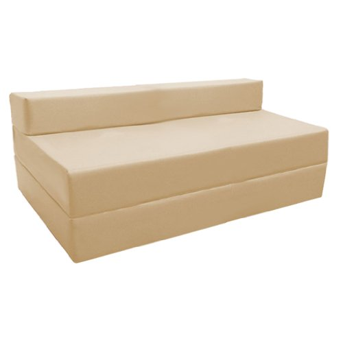 Fold Out Water Resistant Z Bed Sofa in Stone. Soft, Comfortable & Lightweight with a Removeable Cover