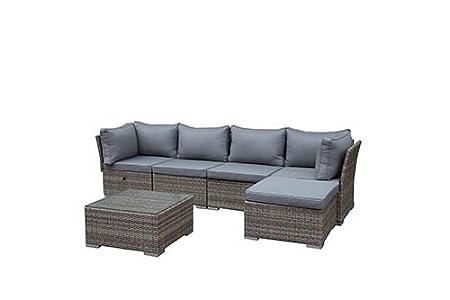 greemotion Rattan-Lounge Toronto - Gartenmöbel-Set 6-teilig aus Polyrattan in Braun-Beige mit Auflagen in Grau - Design-Loungeset mit 2 x Rattansessel, Glastisch & Tisch-Hocker fur Outdoor & Indoor