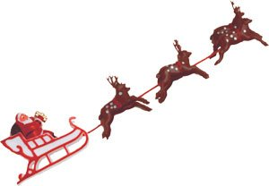 Santa Sleigh with Reindeer Christmas Cake Topper Decoration