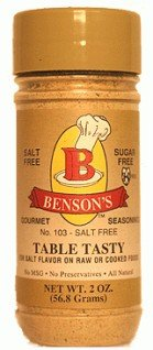 6-Pack Table Tasty Salt Substitute No Potassium Chloride Substitute for Salt - 6 Bottles with Shaker 2oz (Pack of 6) from Benson's Gourmet Seasonings