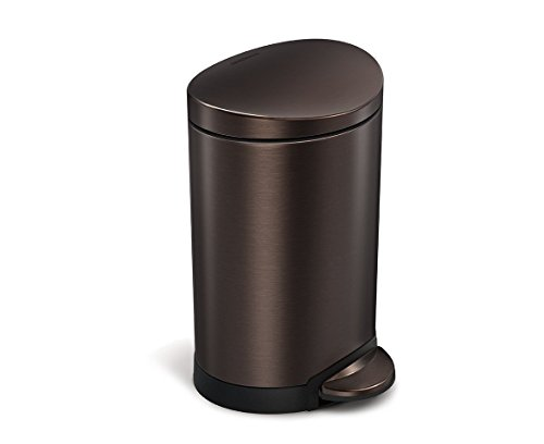 simplehuman Semi-Round Step Trash Can, Dark Bronze Stainless Steel, 6 L / 1.6 Gal (Bathroom Trash Can With Lid compare prices)