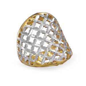 Two Tone Diamond Cut Ring / Size 7